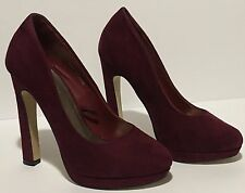 Women Forever 21 Classic Pumps Shoes High Heels Wine Red Faux Suede size 6