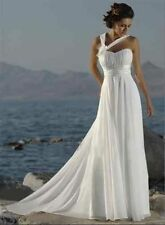 New White Chiffon Beach Wedding Dresses Bridal Gowns Size  12