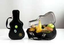 Cool Kids Novelty Black Tin Guitar Case Shaped Metal School Lunch Box & Stickers
