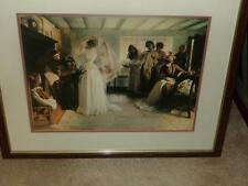 victorian WEDDING THEMED PICTURE DOUBLE MATTED FRAMED CUTE AS A BUTTON MUST SEE