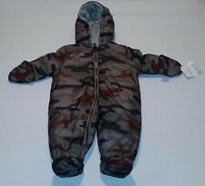 NEW Carters Full Zip Winter Snow Suit 3-6 Months Camo Baby Boy Girl Mittens $70