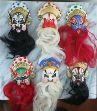 "6 Chinese Opera Masks Faces Huishan Clay Figurines 4"" New in Box"