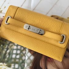 Coach 53028 Yellow Pebble Leather Turnlock Swagger Wallet Envelope Clutch Purse