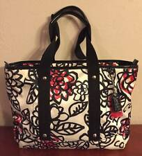 COACH POPPY FLOWER GRAFFITI ZIP TOTE PURSE BAG ~ WHITE BLACK RED PINK!