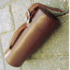 NEW DARK BROWN VINTAGE STYLE ROUND LEATHER TUBE BIKE TOOL BAG - SHIPS FREE USA
