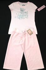 NWT Juicy Couture New Pale Pink Cotton Track Pants & T.Shirt Set Girls Age 8