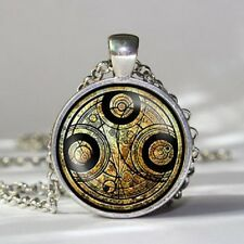 "Dr Who Time Lord Seal, Steampunk Silver / Bronze  Necklace Pendant.30"" chain"