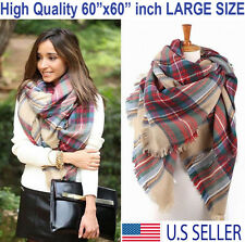 Plaid Blanket Scarf Oversized Tartan Wrap Shawl Cozy Checked Pashmina Women Hot