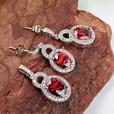 925 silver ruby & white zircon  Fashion jewelry  Pendant+earring jewelry set R46