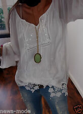 C23B0V TUNIKA BLUSE S M L BLOGGER ITALY SHIRT Musthave TREND Spitze GLITZER 38