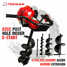 TDKMAN 62cc Petrol Post Hole Digger Earth Auger 100 200 300mm Drill Fence Borer