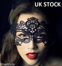 BLACK VENETIAN MASQUERADE EYE MASK HALLOWEEN PARTY LACE FANCY DRESS