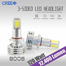 120W 12400LM CREE LED Headlight Kit Light Bulbs 6000K White High Power 9006 HB4