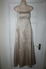 Ladies Gold Satin Debut Dress Size 8 Bridemaid Prom Ball Gown