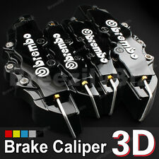 4 Pcs Black Brembo Style 3D Disc Set Front Rear brake Calipers Cover Kit B01