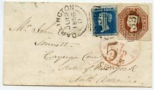 "Raro 1856 cubierta Darlington a Estados Unidos con 2d Blue Y 10d En Relieve "" 233"" Duplex"