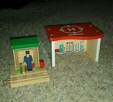 Thomas the Train Wooden Railway Conductor Shed & helicopter pad lot