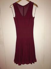 AZZEDINE ALAIA DARK RED SKATER SKIRT DRESS WITH V NECK - SIZE 40