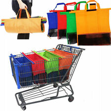 Set of 4 Reusable Shopping Bags Eco Foldable Trolley Tote Grocery Cart Storage