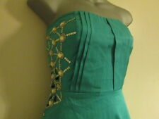 BNWT Jane Norman Aqua Stretch Strapless Cut-Out side Gem Party Dress 12/10
