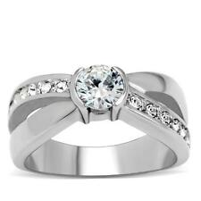 Silver Stainless Steel Anniversary Ring Clear Cubic Zirconia Eternity Size 10