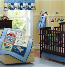 Boy Baby Nursery Bedding Set 8PCS Infant Quilt Bumper Fitted Sheet Dust ruffle