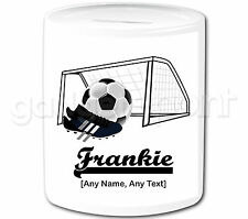 Personalised Gift Football Goal Money Box Boots Sport Goalkeeper Coach Present