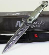 MTech Gothic Cross StoneWash Full Tang Double Edge Throwing Dagger Combat Knife