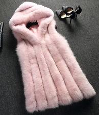 Lady Hooded Body Warmer Faux Fur Outwear Vest Waistcoats Plus Sleeveless Jackets