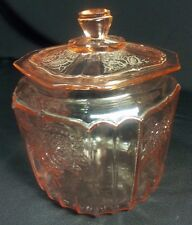 Vtg Mayfair Hocking glass Pink Depression Glass Cookie jar w/ lid circa 1930 's