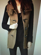 Burberry Brit Two-Tone Wool Duffle Coat, Camel/Black Size 2