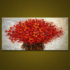 Modern Abstract Red Flower Canvas Wall Art hand Painted Oil Painting(No Frame)