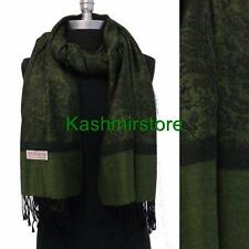 New Pashmina Paisley Floral Silk Wool Scarf Wrap Shawl Soft Green/black #sm071