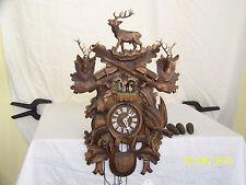 Anton Schneider German Cuckoo Black Forest Hand Carved Wild Game Wall Clock