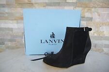 luxus Lanvin Gr 36 Keil Stiefeletten Booties Schuhe shoes black NEU UVP 440 € €