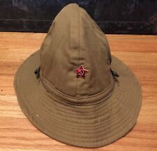 Vtg. Vietnam War Era USSR SOVIET RUSSIAN Boonie Green Bucket Brim Jungle Hat Cap