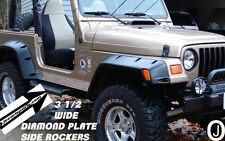 "Jeep TJ Wrangler 3 1/2"" Wide ++Highly Polished++Diamond Plate Rocker Panel Set"