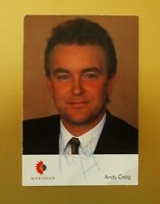 GENUINE AUTOGRAPHED PHOTO ~ POSTCARD SIZE ~ ANDY CRAIG [ MERIDIAN TV ]