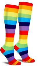 Rainbow Multi-color Brite Pride Striped Knee High Cotton Women Socks One Size