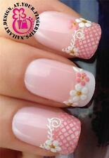 PINK WHITE GLITTER NAIL ART LACE WATER FLOWER TIPS STICKERS DECAL TRANSFERS #535