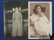 Two RPPC Big Huge Hair Bows Mama with Baby Unused VINTAGE!