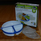 Handy Helpers MICROWAVE DIVIDED DISH POP OUT SECTIONS LID PLASTIC WHITE BLUE New