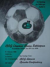 Programma 1984/85 BSG Chemie Buna Schkopau Brieske-Senftenberg