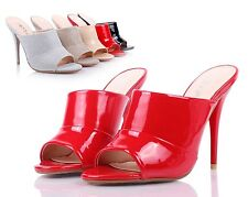 Red Sexy Womens Peep Toe Mules High Heels Dress Shoes Sandals Shoes Size 9