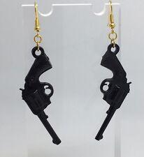 Large Black Pistol Gun Charm Earrings Hooks Kitsch Unusual D410 Gold Plt Hooks