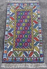 SEMI ANTIQUE TRANS CAUCASIAN TURKISH BEDSIDE HEARTH RUG  WONDERFUL COLOURS