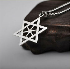New Silver Stainless Steel David Hexagram Men's Pendant Necklace Free Ball Chain