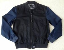 Quiksilver The Duke Bomber Black Blue Two Tone Jacket Mens Size L Large