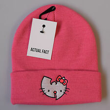 Hello Kitty Wu Tang Real Fact Hip Hop Beanie Invierno Roll Up Rosa Lanudo Sombrero