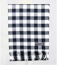 100% CASHMERE Scarf Black White Check Plaid Warm Soft SCOTLAND Wool Women NJC